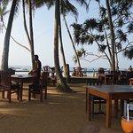Speisen unter Palmen und strand