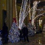 Lobby area at Christmas