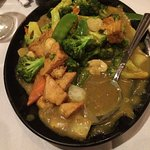 Vegetables on curry sauce
