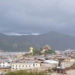 View over the old town to the golden prayer wheel- the largest in the world