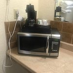 Microwave and coffee pot ready for use!