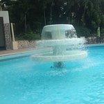 Nice waterfall fountain in the pool