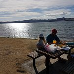 Eating at the nearby Lake Taupo