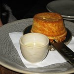 Cheese souffle with sauce