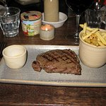 Cornish rump, rare, french fries, herb butter