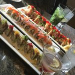 Amakara cocktail, mojito, roasted edamame, Klondike express roll, crunchy rainbow and salmon spi