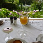 Great breakfast on the verandah with a few of the formal garden