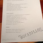 Menu at Bocadillos-limited but good
