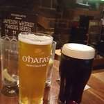 a pint of O'Haras beer and a Guinness at the Monroe's Tavern