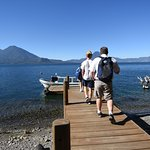 At the hotel's dock on Lake Atitlan - getting on boat for a tour