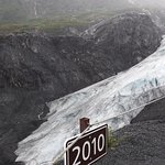 Signs with dates indicate where the glacier used to be. Exit Glacier, Alaska