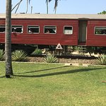 Th train runs between the hotel and beach