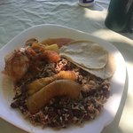 rice and chicken breakfast at Balu's