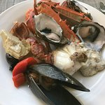 my first selection of freshly cooked seafood