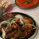 The mixed tandoor grill, butter chicken, and wheat roti naan.