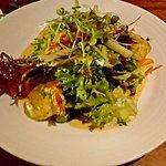 Garlic shrimp salad, $22
