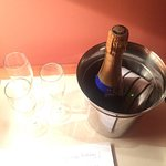 Complimentary champagne to celebrate my daughter's birthday - from Le Relais du Louvre's staff.