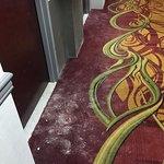Messy 8th floor hallway