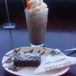 Iced chocolate and chocolate brownie