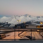 View of the Mont Blanc (high in the middle) from the hotel lobby