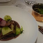 Grilled veal with mint + liver rolled in guinea fowl. Kidney beans with onions