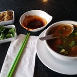 Tom Yum soup (left) & Spicy Korean Stuffed Fishball soup.