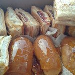 Guava pastries, coconut pastries, and caramel éclairs
