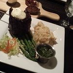 Churrasco Steak with Red Mashed Potatoes and Asparagus