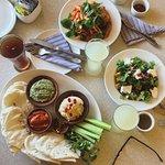 pumpkin salad, penne pasta, and mediterranian platter