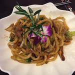 yaki udon in a rich brown sauce