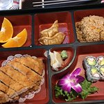 Bargin bento, includes soup and salad and two portions of pork cutlet $10.50