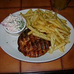 Cajun chicken & fries, swapped tomato & mushrooms for coleslaw