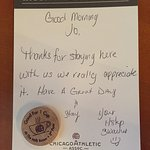 Nice note from the housekeeping staff with a token for a free coffee