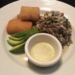 Vegan meal options at La Luna restaurant at Gaia