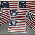 "Our American flags on wood fense, 3/16"" thick wood stars & Pantone color standardsds. St"
