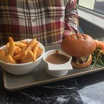 Glenarm shorthorn steak burger 8oz with smoked cheese and bacon & Chips