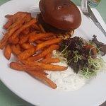 Lamb burger & sweet potato fries, mint raitha