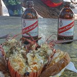 AMAZING lobster lunch cooked fresh on the island.