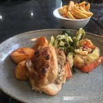 Roast Stuffed Chicken and Ham & Veg with Chips (Gravy on the side).
