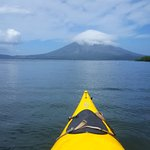 The paddle out with perfect views of Volcano Concepcion