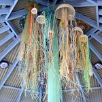 A jellyfish sculpture in the shelter