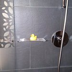how cute. lovely spacious shower AND a rubber ducky