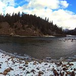 Panorama with Bow Falls to the left.