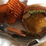Guacapotle burger and sweet potato fries