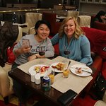 Helen- our tour guide in Guilin joined us at the Sheraton Executive Lounge .