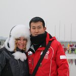Billy-our tour guide in Harbin at the Ice Swimming Exhibition.