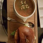 Beef Burger with Chicken Noodle Soap!