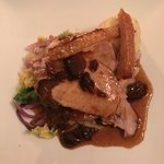 Main - Roast Pork and Crackling on a bed of Savoy Cabbage and Red Onion with Mustard Mash