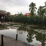 Teich mit Lotusblumen, im Hintergrund das Restaurant
