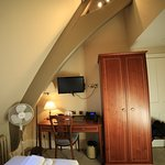 My single room in the converted chapel at The Old Palace Hotel. You can see the timbers of the n